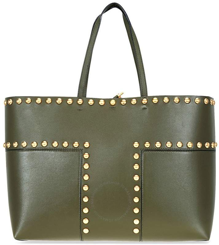 Tory Burch Block-T Studded Leather Tote- Leccio - ONE COLOR - STYLE