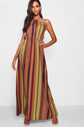 boohoo Stripe Halter Cut Out Maxi Dress