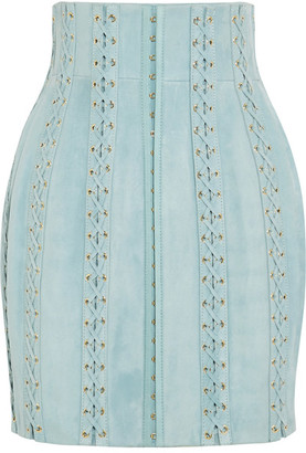 Balmain - Lace-up Suede Mini Skirt - Sky blue $5,085 thestylecure.com