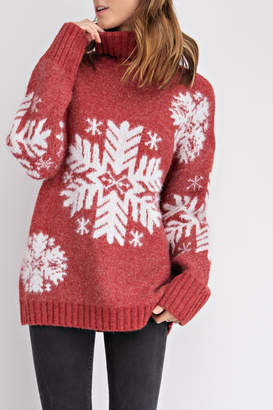 Easel Snowflake Turtleneck Sweater