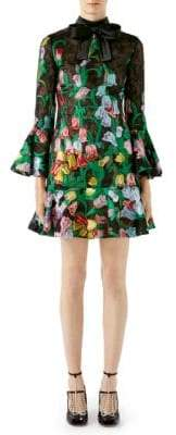 Gucci Organza Floral Bell-Sleeve Dress