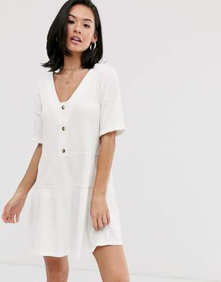Asos Design DESIGN textured button through smock dress with tiered skirt