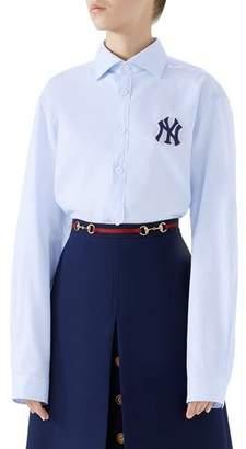 Gucci NY Yankees MLB Button-Front Long-Sleeve Cotton Shirt