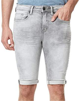 Buffalo David Bitton Men's Parker Slim Fit Fashion Knitted Denim Short in a Dark and Sanded Wash