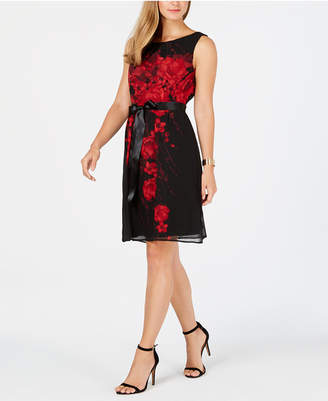 Connected Belted Printed Chiffon A-Line Dress