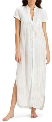 Onia Kim Stripe Button Down Cover-Up Maxi Dress