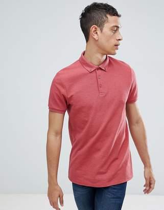 Asos DESIGN polo with button down collar in pique in red