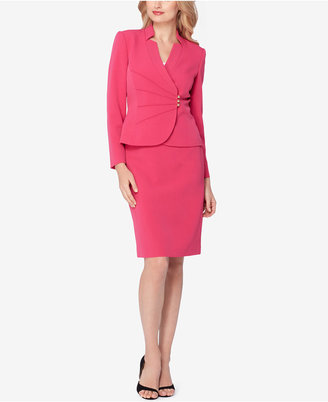 Tahari ASL Ruched Asymmetrical Skirt Suit $280 thestylecure.com