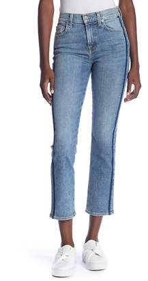 7 For All Mankind Edie Side Stripe Straight Leg Cropped Jeans