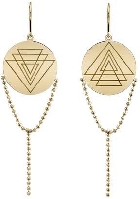 ARK Fine Jewelry Engraved Disc Chain Earrings - Yellow Gold