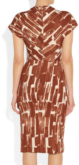 Bottega Veneta Printed wool-crepe wrap-effect dress