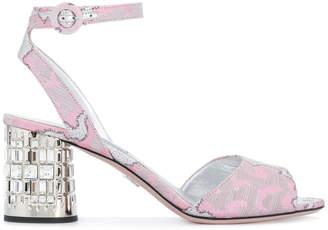 Prada patterned embellished block heel sandals