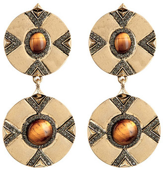House of Harlow 1960 Dorelia Double Coin Tiger Eye Dangle Earrings $52 thestylecure.com