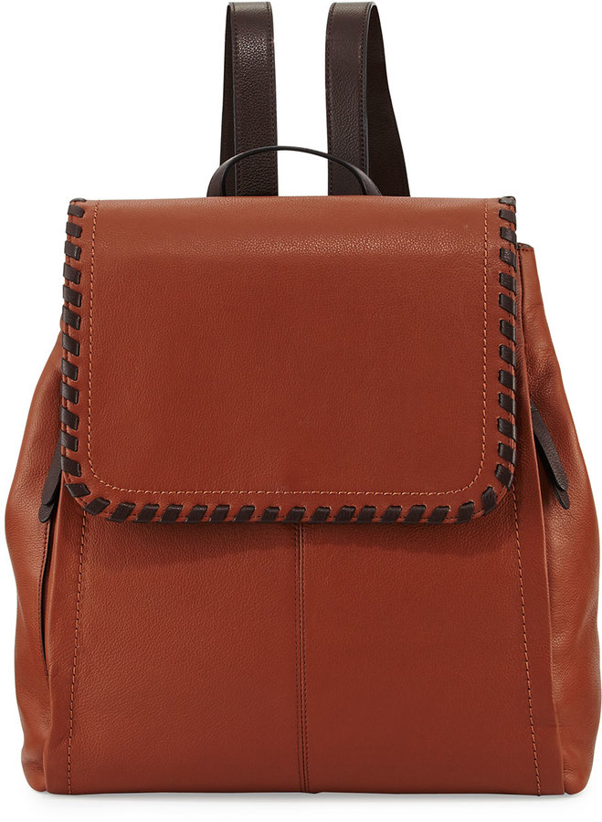 Cole Haan Cole Haan Addey Whipstitched Leather Backpack, Woodbury/Chocolate