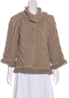 St. John Wool Cable Knit Cardigan
