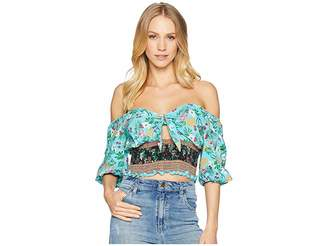 Angie Print Crop Top Women's Clothing