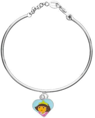 Dora the Explorer 3181058 Princess Child's Bangle Bracelet with Heart Charm Silver 925/1000 Rhodium 2.5 g Enamel 4.5 cm