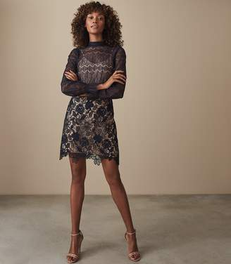 Reiss Elie - Lace Overlay Slim Fit Dress in Navy/nude