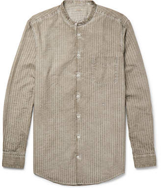 Massimo Alba Slim-Fit Grandad-Collar Watercolour-Dyed Striped Cotton Shirt