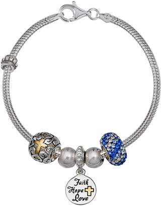 "Individuality Beads Crystal Sterling Silver Snake Chain Bracelet & ""Faith"" Charm & Bead Set"