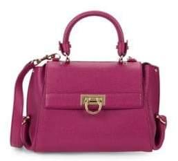 Salvatore Ferragamo Small Sangria Grained-Leather Tote Bag