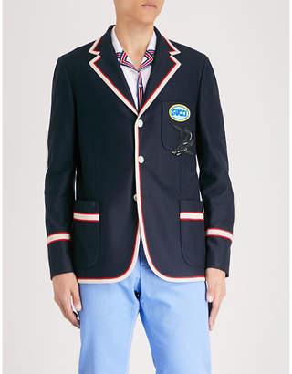 Gucci Appliquéd cotton-piqué blazer