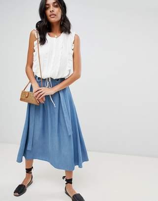 Moon River Denim Wrap Skirt