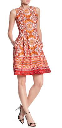 Gabby Skye Sleeveless Print Fit & Flare Dress