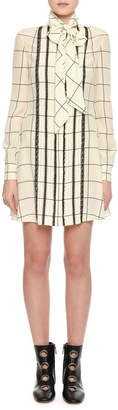 Valentino Long-Sleeve Windowpane Tie-Neck Shirtdress, White/Black