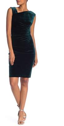 Vince Camuto Asymmetrical Neck Sleeveless Velour Bodycon Dress