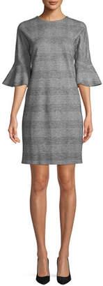 Escada Sport V-Neck Bell-Sleeve Glen-Plaid Sheath Dress