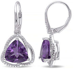 HBC CONCERTO Amethyst and Diamond Sterling Silver Orbit Dangle Earrings