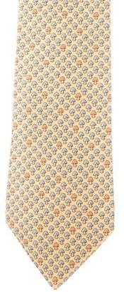 Hermes Mushroom Print Silk Tie
