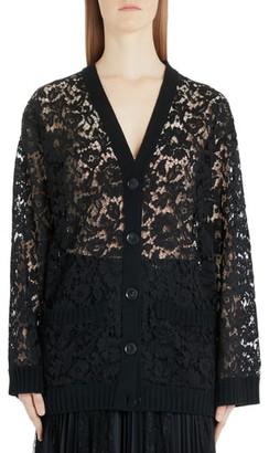 Valentino Oversized Wool Lace Cardigan