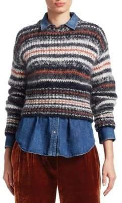 Brunello Cucinelli Mohair Stripe Crop Sweater