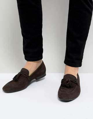 Dune Tassel Loafers In Brown Suede