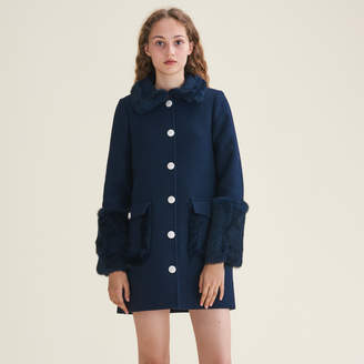 Maje Straight-cut wool blend coat with rabbit