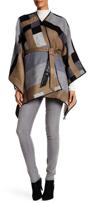 Just Jamie Geo Knit Faux Leather Trimmed Ruana $100 thestylecure.com