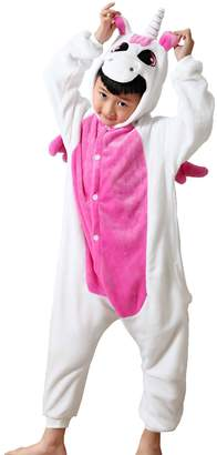 Elonglin Unisex Childrens Animal Onesie Cosplay Flannels Hooded Kids Sleepsuit Sleepwear Nightwear for Party Halloween Music Festival