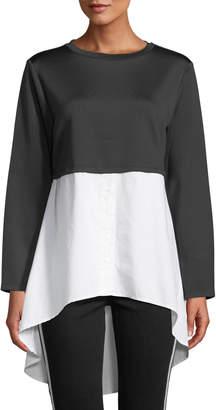 Velvet Heart Adelaide Contrast-Shirt Flare-Hem Top