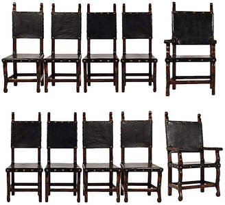 One Kings Lane Vintage Set of 10 Spanish Colonial Dining Chairs - Castle Antiques & Design