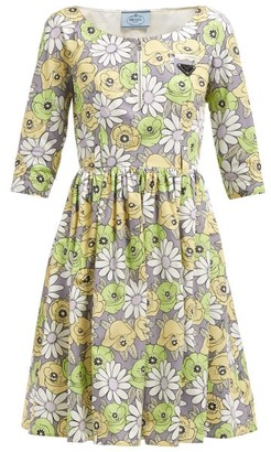 Prada Blossom Print Cotton Poplin Smock Dress - Womens - Grey Multi