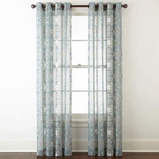JCPenney JCP HOME Home Batiste Paisley Grommet-Top Sheer Curtain Panel