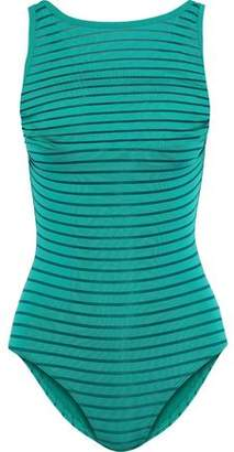 Jets Parellels Overlay Striped Mesh Swimsuit