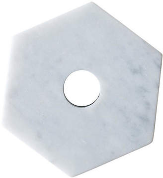 "4"" Hexagonal Marble Candleholder - White - FS Objects"