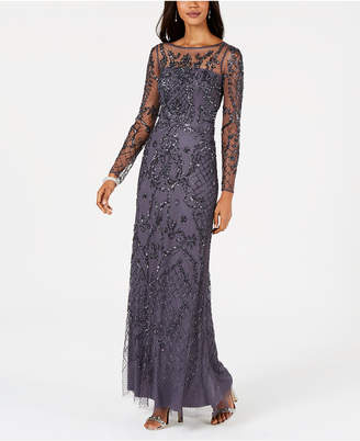 Adrianna Papell Embellished Illusion Gown