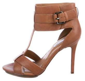 BCBGMAXAZRIA Leather T-Strap Sandals