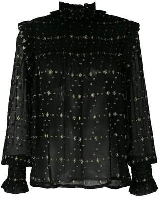 Saint Laurent smocked diamonds fil coupe blouse