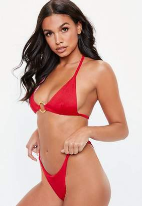 Missguided Red Ring Front Triangle Bikini Top