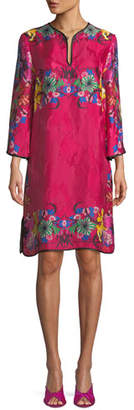 Etro Split-Neck Bracelet-Sleeve Floral-Jacquard Shift Dress